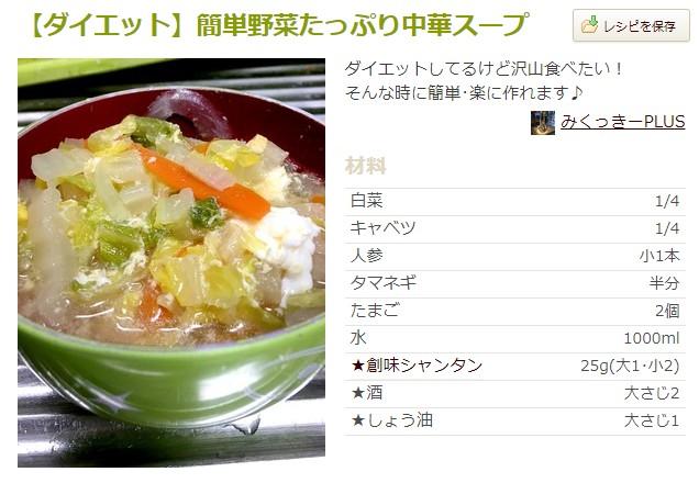 【ダイエット】簡単野菜たっぷり中華スープ